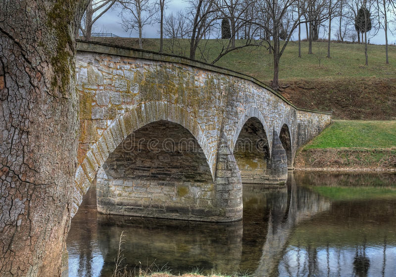 Antietam Creek and Bridge in Sharpsburg, MD. Antietam Creek and Burnside's Bridge in Sharpsburg, Maryland - this bridge played a key role in the Battle of royalty free stock photos