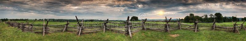 Antietam Fenceline Panorama. Antietam National Battlefield, Sharpsburg, Maryland, USA royalty free stock image