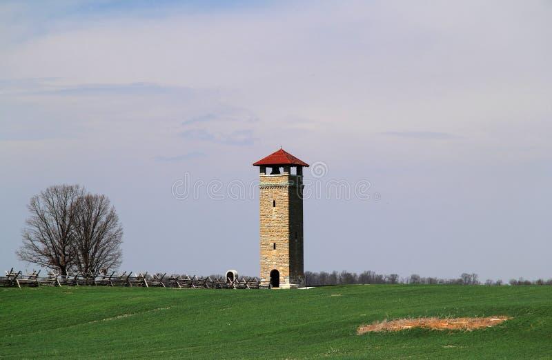 Antietam National Battlefield Observation Tower. SHARPSBURG, MD – APRIL 14: A large tower offers an overall view of Antietam National Battlefield, thus stock photo