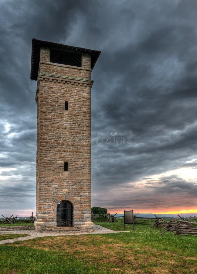 Antietam National Battlefield Observation Tower Sunrise. Site of historic Civil War battle stock image