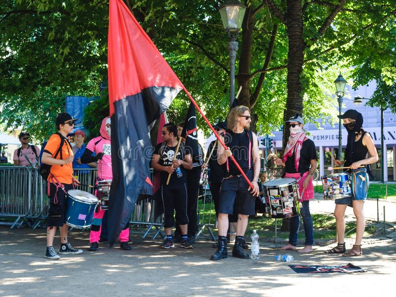 Antifascists protests in Helsinki royalty free stock photo