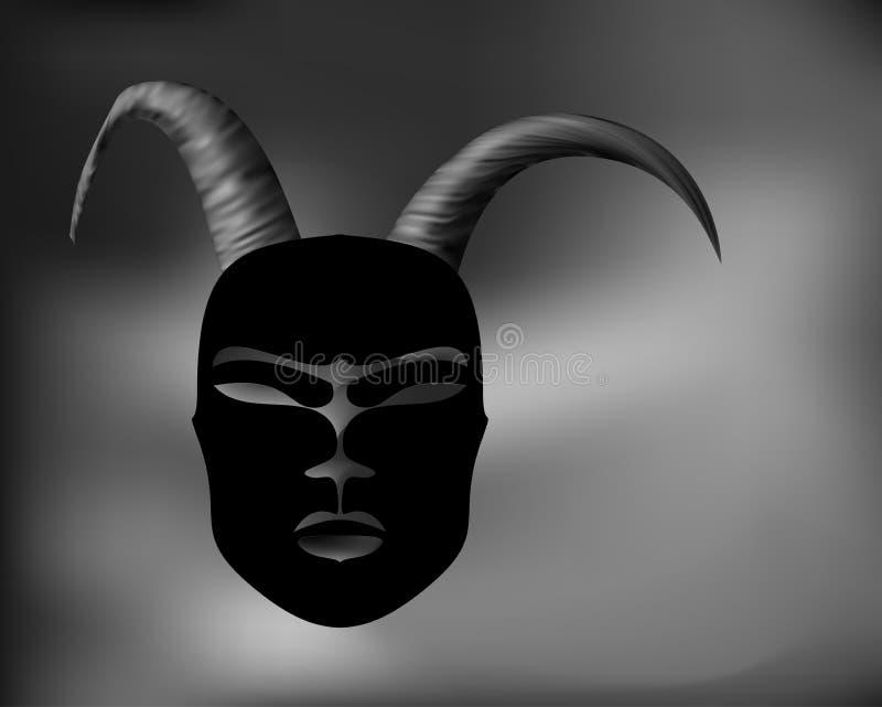 Antigüedad ritual de la máscara de cuernos en el estilo africano Cuernos de oro stock de ilustración