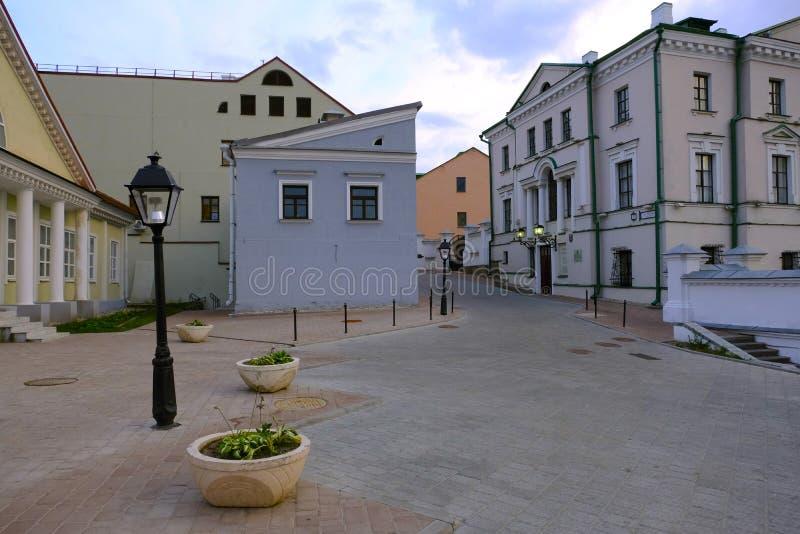 Antiga casa dos pedreiro, indique presentemente o museu da história da cultura teatral e musical, cidade superior de Minsk, Bielo imagem de stock royalty free