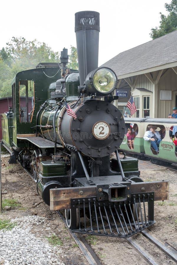 Antiga máquina a vapor em um trem Museum em Indiana, EUA foto de stock royalty free