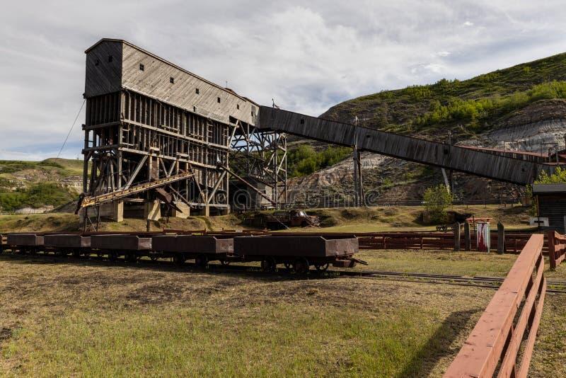 Antiga mina de carvão em Drumheller em Alberta Canadá imagem de stock