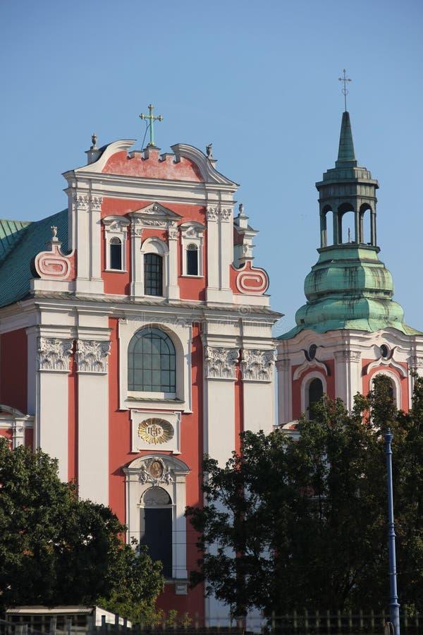 Antigas faculdade & igreja paroquial do jesuíta. Poznan. Poland foto de stock royalty free