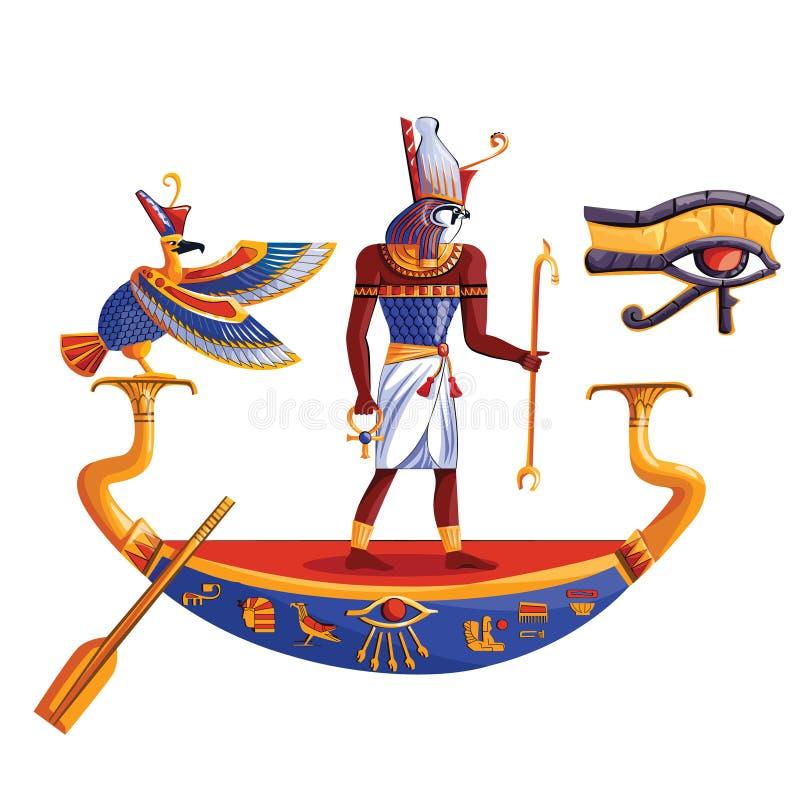 Antigo Egito deus sol Ra ou Horus em barco ilustração do vetor