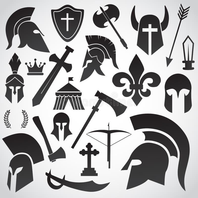 Antigo, espartano, guerreiro, capacete do soldado ilustração royalty free