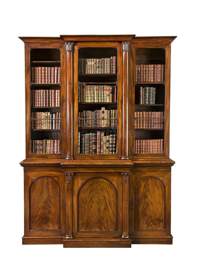 Antigo velho do breakfront pequeno da biblioteca com livros foto de stock royalty free