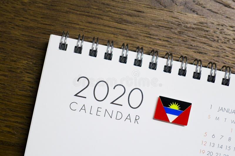 Antigua and Barbuda Flag on 2020 Calendar royalty free stock photo