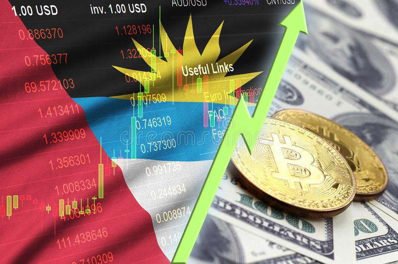 Antigua and Barbuda flag and cryptocurrency growing trend with two bitcoins on dollar bills stock image