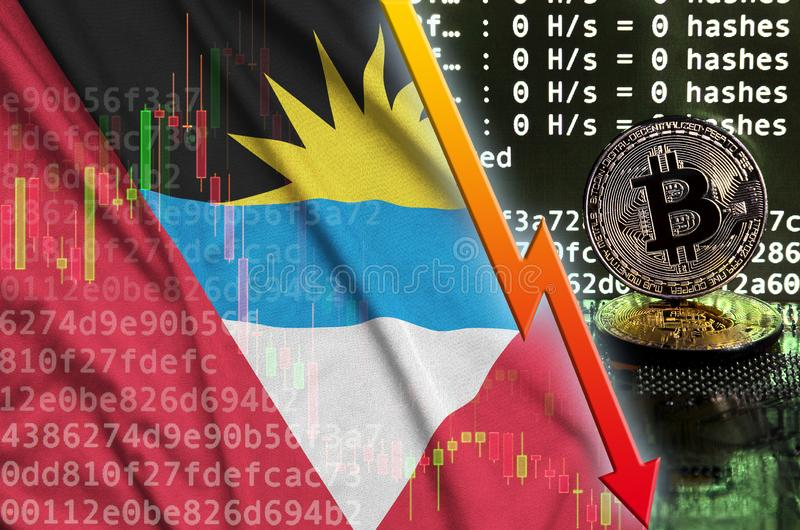 Antigua and Barbuda flag and falling red arrow on bitcoin mining screen and two physical golden bitcoins stock photography