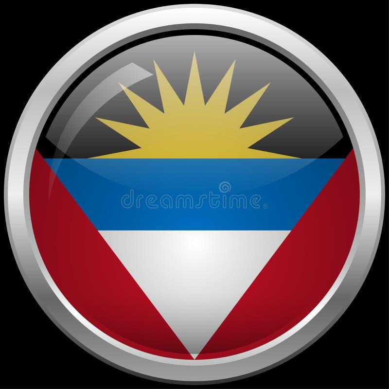 Antigua and Barbuda flag glass button vector illustration stock illustration