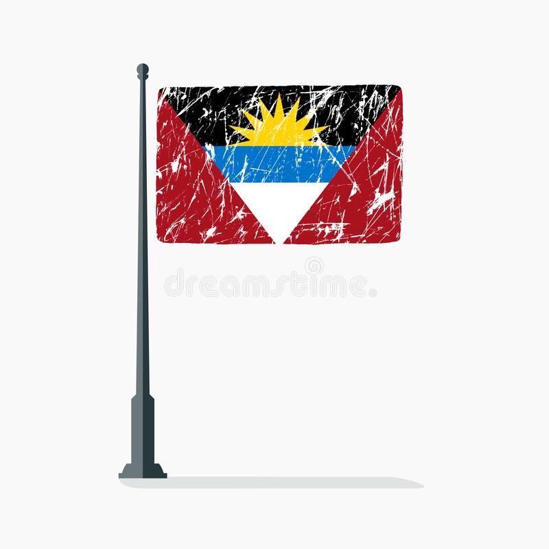 Antigua and Barbuda flag with scratches, vector flag of Antigua and Barbuda on flagpole with shadow. stock illustration