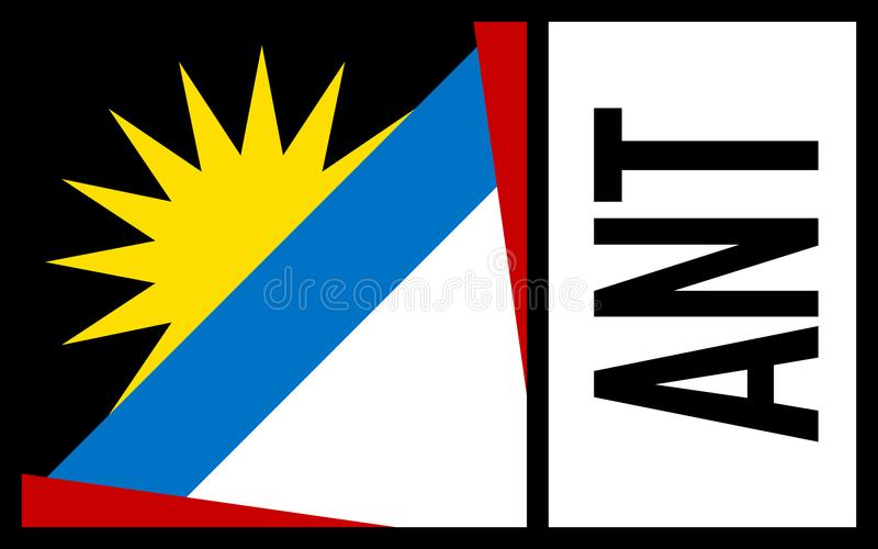 Antigua Barbuda flaga - ikona zdjęcia stock