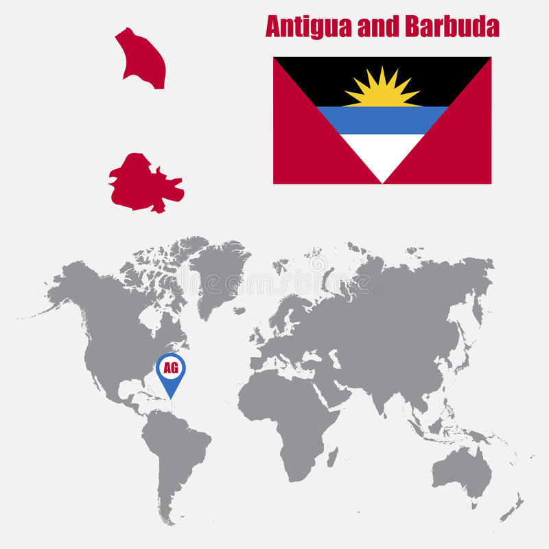 Antigua And Barbuda Map On A World Map With Flag And Map Pointer