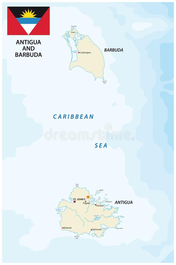 Antigua And Barbuda Vector Map With Flag Stock Vector Illustration