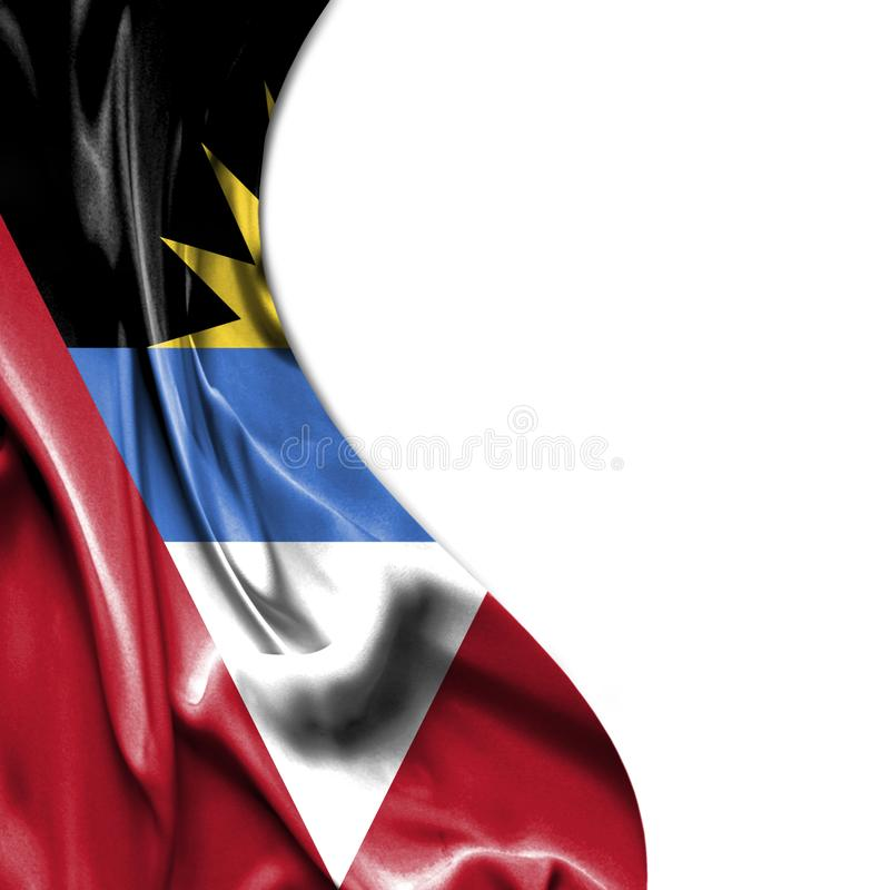 Antigua and Barbuda waving satin flag isolated on white background stock illustration