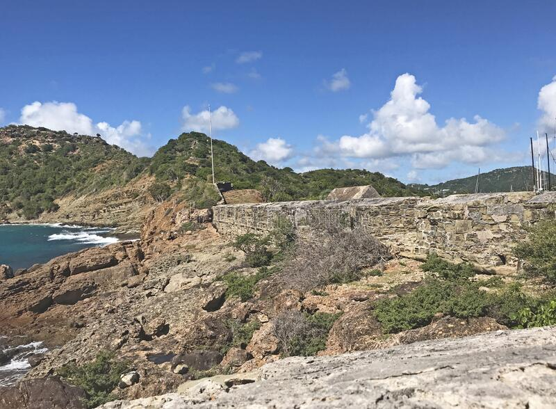 Fort Berkeley, Fort, fortification, fortress, Antigua, Barbuda, Caribbean, Carribbean, Lesser Antilles, West Indies, protection, o. Antigua coastline, outer fort stock image