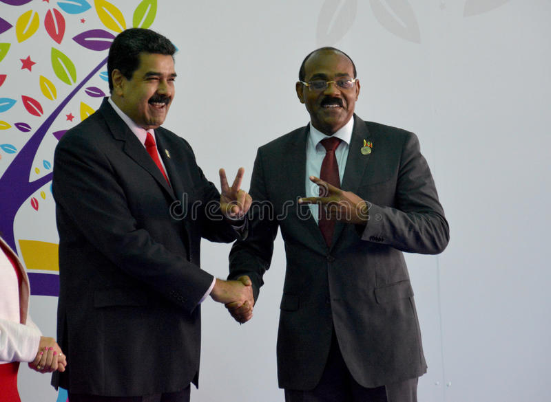 Antigua en de Eerste minister Gaston Browne van Barbuda en Venezolaanse President Nicolas Maduro royalty-vrije stock afbeeldingen