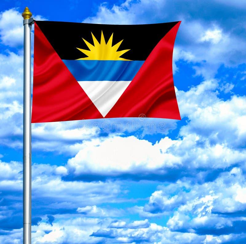 Antigua en de golvende vlag van Barbuda tegen blauwe hemel royalty-vrije stock foto's