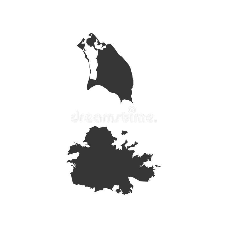 Antigua en de kaart van Barbuda stock illustratie