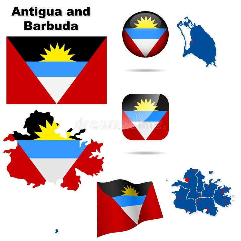 Antigua en de reeks van Barbuda. vector illustratie