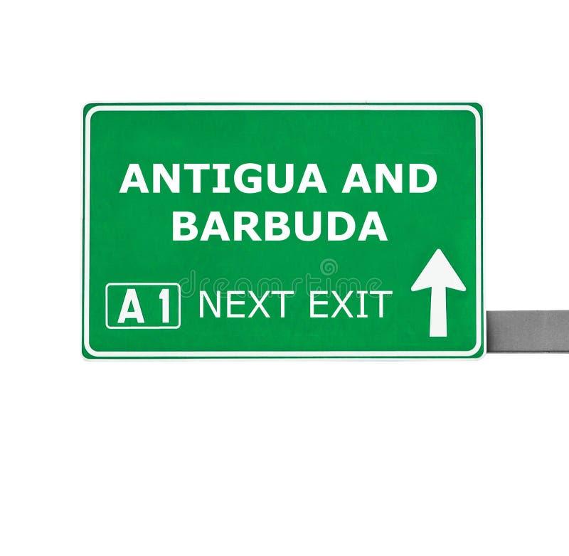 ANTIGUA EN de verkeersteken van BARBUDA die op wit worden geïsoleerd stock afbeeldingen