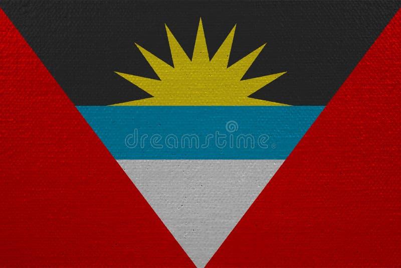 Antigua en de vlag van Barbuda op canvas royalty-vrije stock afbeeldingen