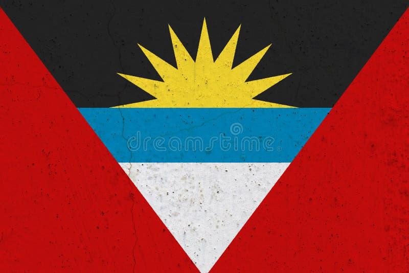Antigua en de vlag van Barbuda op concrete muur royalty-vrije stock foto