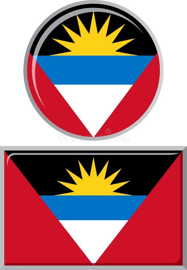 Antigua en ronde, vierkante het pictogramvlag van Barbuda royalty-vrije illustratie