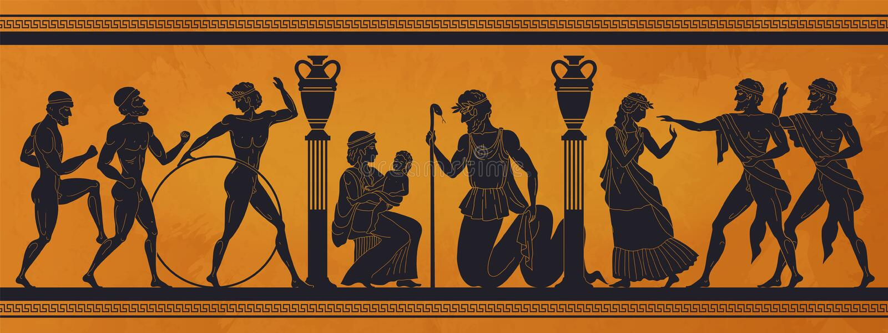Antigua mitología griega Siluetas negras de la historia del Antico de gente y dioses en cerámica Patrón de arqueología del vector libre illustration