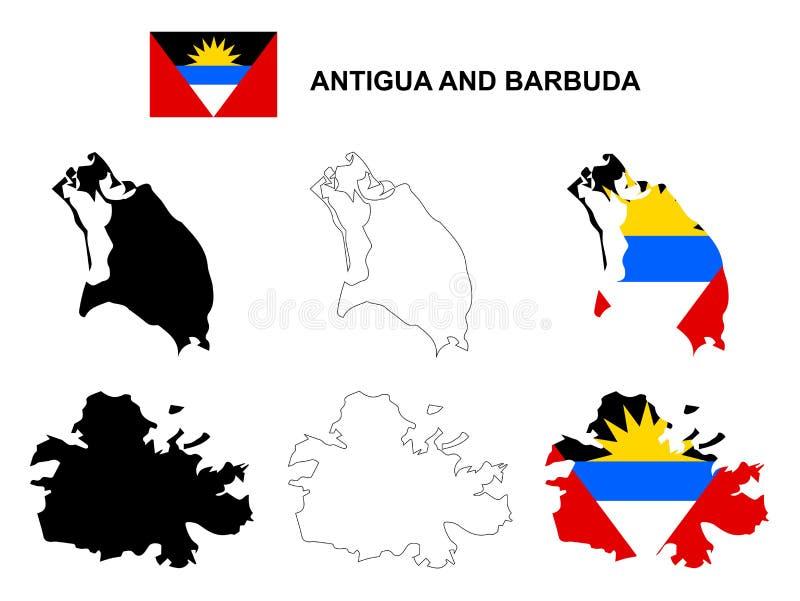 Antigua och Barbudaöversiktsvektorn, Antigua och Barbudaflaggavektor, isolerade Antigua och Barbuda royaltyfri illustrationer
