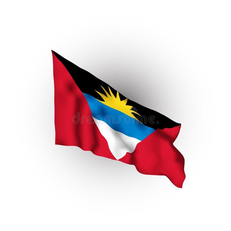 Antigua och Barbuda som fladdrar flaggan ocks? vektor f?r coreldrawillustration St John vektor illustrationer