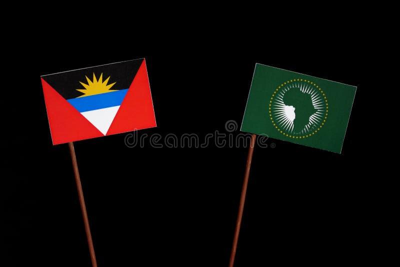 Download Antigua Und Barbuda-Flagge Mit Der Flagge Der Afrikanischen Union Lokalisiert Auf Schwarzem Stockfoto - Bild von krise, überschneidung: 96931858