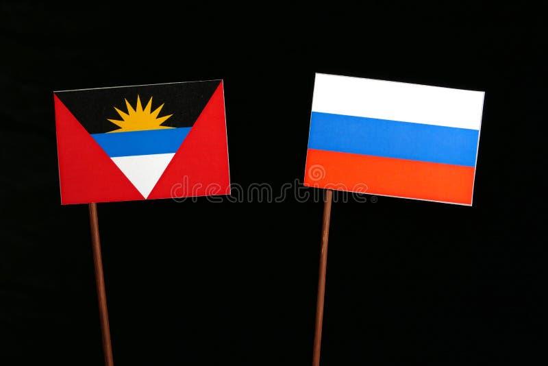 Download Antigua Und Barbuda-Flagge Mit Der Russischen Flagge Lokalisiert Auf Schwarzem Stockbild - Bild von vereinbarung, kultur: 96931833