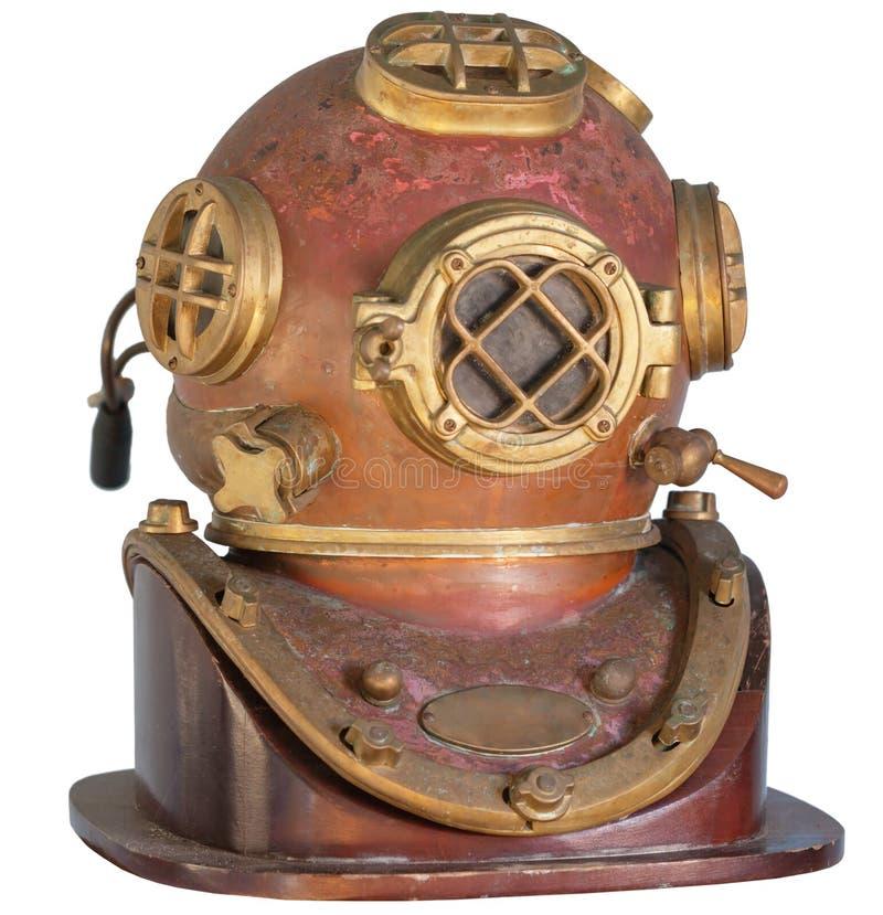 Antiguidade, capacete de bronze do mergulho em um fundo branco imagem de stock royalty free