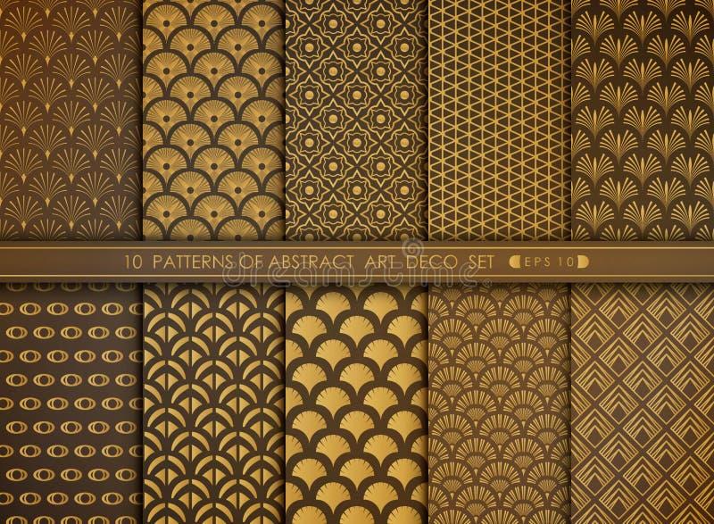 Antiguidade luxuosa abstrata do estilo do espa?o do grupo do teste padr?o do art deco do ouro vetor eps 10 da ilustra??o ilustração stock