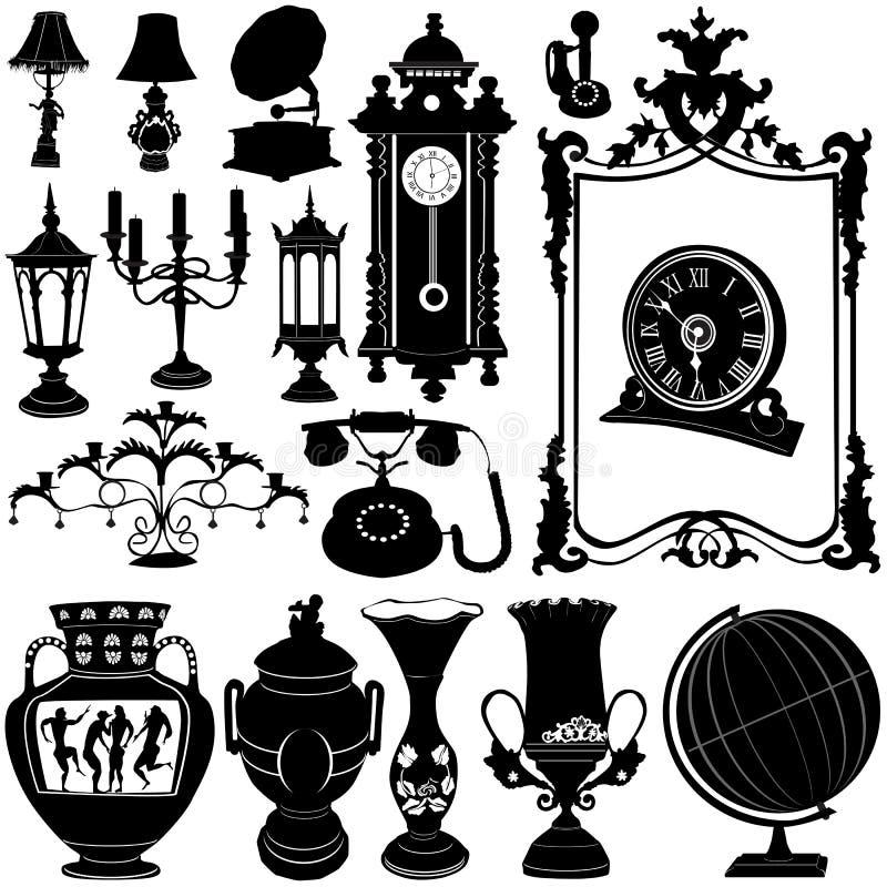 A antiguidade objeta o vetor ilustração stock