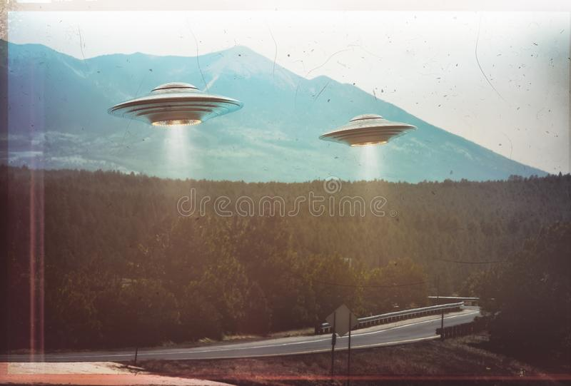 Antiguidade retro do vintage do UFO ilustração do vetor