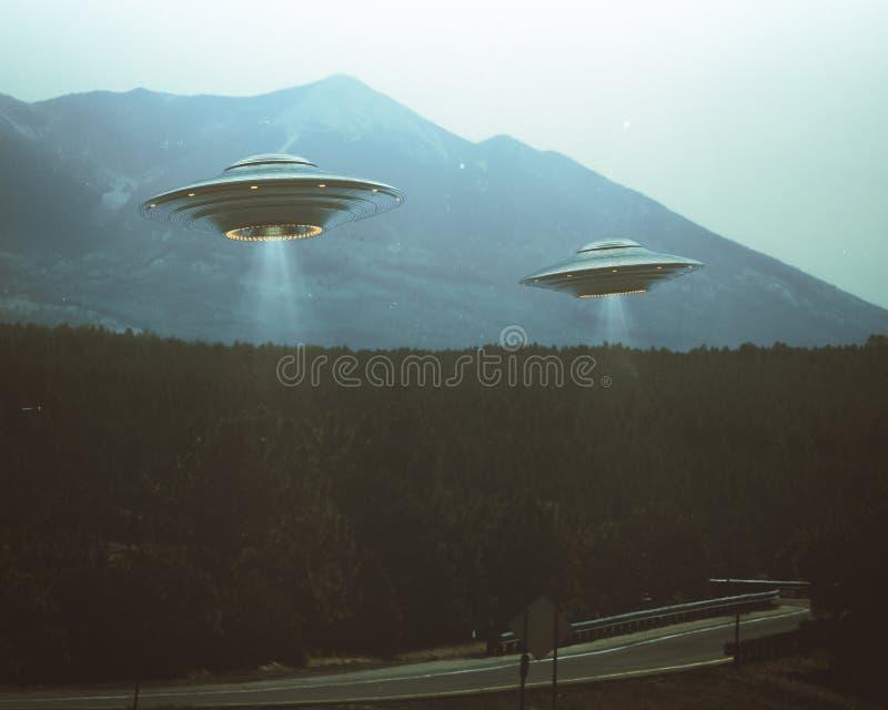 Antiguidade retro do vintage do UFO ilustração stock