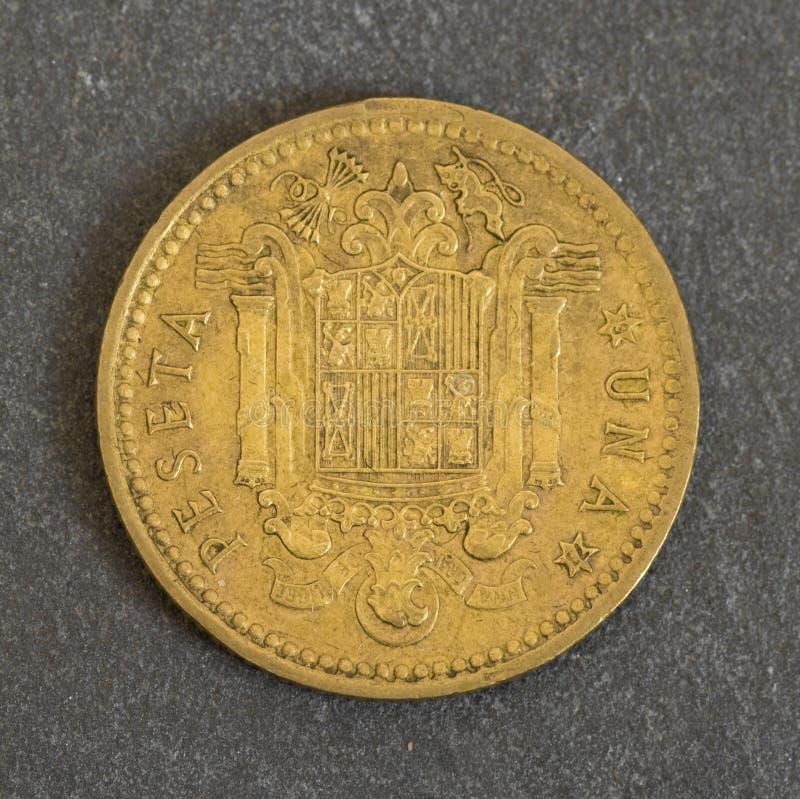Antiguidade uma moeda da peseta imagem de stock royalty free