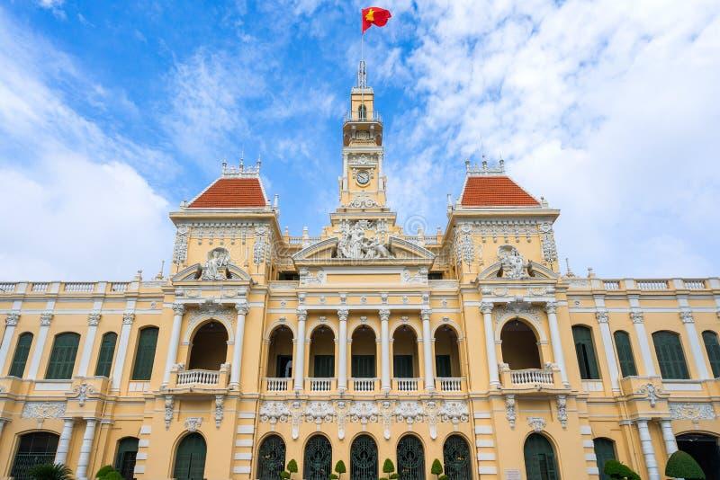 Antiguo del edificio del comité de la gente en Sai Gon imagenes de archivo