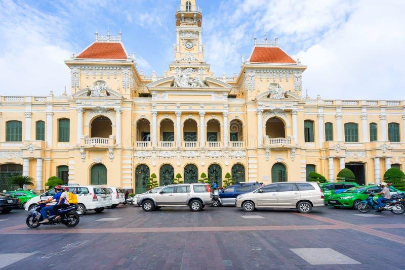 Antiguo del edificio del comité de la gente en Sai Gon imagen de archivo libre de regalías