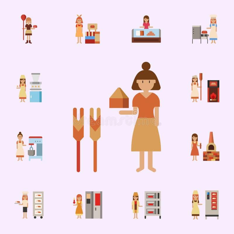 Antiguo, icono del color del panadero Sistema universal de los iconos de la panader?a para la web y el m?vil stock de ilustración