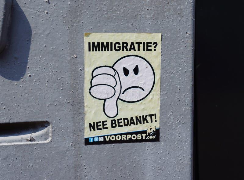 Antiimmigratiesticker in Nederland, Europa royalty-vrije stock foto