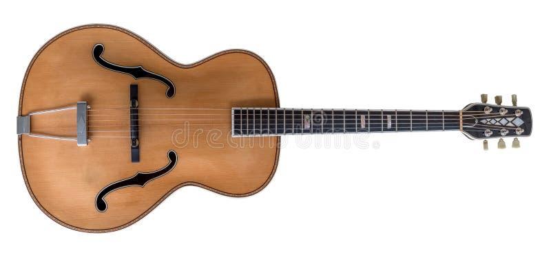 Antik akustisk gitarr som isoleras på vit royaltyfria bilder