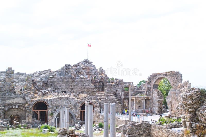 Antik amphitheater kalkon Sidostad arkivfoto