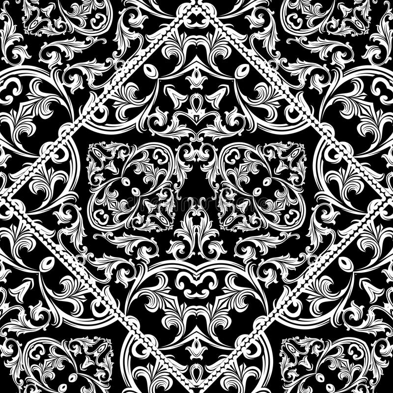 Antik barock sömlös modell Svart blom- bakgrundswallpa vektor illustrationer