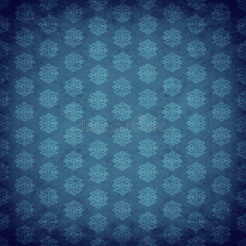 antik blå gammal wallpaper royaltyfri illustrationer
